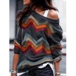 Оригинал Женское Повседневная блузка с длинным рукавом с геометрическим принтом