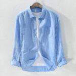 Оригинал МужскиеClassicкраткиемодныедышащиехлопковые льняные рубашки