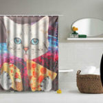 Оригинал Space Nebula Cat Eating Pizza Home Bathroom Shower Curtain Polyester Hook Set