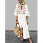 Оригинал Plus Размер Boho Женское V-образным вырезом Flare Sleeve White Maxi Платье