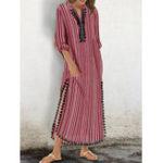 Оригинал Женское Кисточка в полоску с высоким разрезом Kaftan Maxi Платье