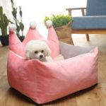 Оригинал 3 цвета роскоши корона кристалл бархат питомца кровать питомника Собака Кот теплый диван кровать любимчика