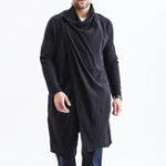 Оригинал Mens Mid Long Plus Размер Осенний платок с воротником Черный трикотаж