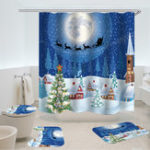 Оригинал 180×180 Christmas Style Gifts 4 PCS Shower Curtain Set Waterproof Bathroom Curtain