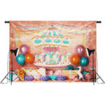 Оригинал 7x5FT Unicorn День рождения Розовый Карусель Лента Фотография Фон Студия Prop Background