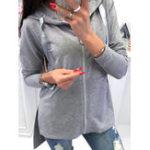 Оригинал Женское Свободные карманы на молнии Pure Color Толстовка с капюшоном