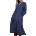 Оригинал Женское с длинным рукавом V-образным вырезом с твердым качающимся карманом Платье
