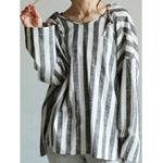 Оригинал Женское Свободная повседневная блузка с длинным рукавом в полоску