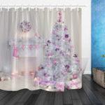 Оригинал РождественскаяелкаИнтерьерXmasКаминв Розовый Украшенные в помещении Занавески для душа Ванная комната Наборы с мат Ванная