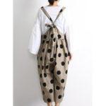 Оригинал Японский Женское хлопок с принтом в горошек Loose Комбинезон