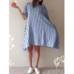 Оригинал Женское Хлопок Loose Striped Round Шея 3/4 Sleeve Платье