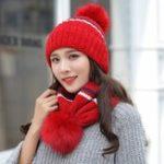 Оригинал Женская зимняя двойная полосатая вязаная рубашка Шапка Cycling Wool Cap