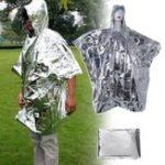 Оригинал IPRee®НаоткрытомвоздухеПереноснойаварийный плащ-пончо из одноразовой фольги Водонепроницаемы Спасательное одеяло для выживания