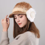 Оригинал Women Winter Thickened Gradient Knitted Hat Earmuffs Beret