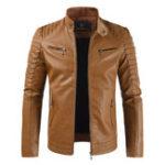 Оригинал Мужская молния из искусственной кожи с флисовой подкладкой Теплая куртка Тонкий