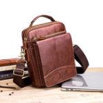 Оригинал МужскаяоткиднаястворкаCrossbodyСумкаПовседневная сумка из натуральной кожи USB для зарядки