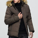 Оригинал Мужская съемная пушистая капюшон Толстая теплая зимняя мягкая куртка