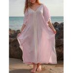 Оригинал Plus Размер чешского V-образным вырезом Batwing Sleeve Женское Maxi Платье