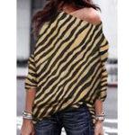 Оригинал Женское Zebra Полосатая блузка с длинным рукавом с открытыми плечами