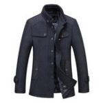 Оригинал Мужской бизнес Зимний толстый теплый стенд воротник шерстяное пальто