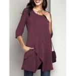 Оригинал Женское Блузка сплошного цвета с асимметричным подолом и половиной рукава
