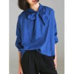 Оригинал Повседневная Женское блузка с длинным рукавом и V-образным вырезом