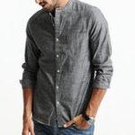Оригинал Мужские Винтаж дышащие хлопка с длинным рукавом свободные серые рубашки