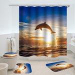 Оригинал дельфинШаблонЗанавесдлядушаВодонепроницаемы Аксессуары для ванной комнаты 3D-печать Ocean Curtain для Ванная комната Green