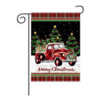 Оригинал Веселыерождественскиеукрашениякрасныйгрузовикс подарками двухсторонняя зима Сад Flag