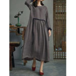 Оригинал Women Vintage Cotton Long Sleeve High Waist Shirt Dress