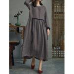 Оригинал Women Vintage Cotton Long Sleeve High Waist Shirt Dress