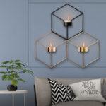 Оригинал 3D геометрический скандинавский стиль подсвечник железный подсвечник ручной работы настенный художественный номер Home Decor