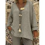 Оригинал Женское Pure Color V-образным вырезом с длинным рукавом вязаные свитера