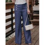Оригинал Женское повседневные хлопчатобумажные льняные однотонные брюки с высокой талией