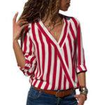 Оригинал Повседневная Женское полосатая блузка с длинным рукавом с v-образным вырезом