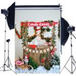 Оригинал 5x7FT Рождественская елка Снежные огни Флаги Консервированные конфеты Фотография Фон Студия Prop Background