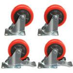 Оригинал 4Pcs Heavy Duty 100mm Rubber Rotate Castor Wheels для тележки Caterpillar Caster