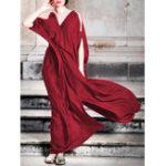 Оригинал Plus Размеры с открытыми плечами с длинными разрезами и длинными рукавами Maxi Платье