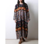 Оригинал Винтаж Loose O-neck Baggy Floral Maxi Платье