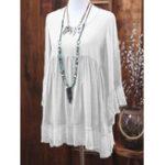 Оригинал Женское Осенняя блуза с длинными рукавами и пэчворком