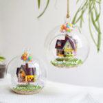 Оригинал 3D DIY Миниатюрный Стеклянный Шар Кукольный Домик LED Звук Управления Свет Кукольный Домик Творческий Рождественский Подарок