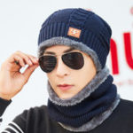 Оригинал Men Women Warm Plush Thicken Knit Beanie Hat with Scarf