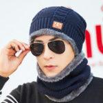 Оригинал Men Women Warm Plush Thicken Knit Beanie Hat with Scarf