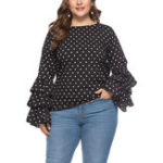 Оригинал Plus Size Polka Dot Ruffles Long Sleeve Women Blouse