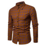 Оригинал Mens Casual Breathable Single Breasted Plaid Printing Shirts