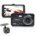 Оригинал Quelima 4 дюймов 1080P Touch Dual Объектив Авто Видеорегистратор камера Ночное видение 170 градусов в ширину