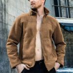 Оригинал Мужская толстая флисовая куртка на молнии с воротником-стойкой