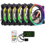 Оригинал Coolmoon 6PCS 12см многослойный охлаждающий вентилятор с подсветкой RGB с контроллером IR для настольных ПК