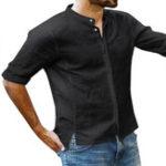 Оригинал Мужские хлопчатобумажные рукава 3/4 Пропавшие без вести Кнопки Рубашки с воротником Стандарты