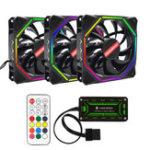 Оригинал Coolmoon 3PCS 12см Регулируемый RGB охлаждающий вентилятор с контроллером IR для настольных ПК